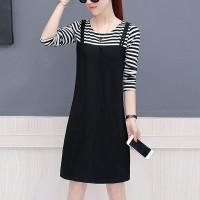 Short Sleeved Contrast Solid Mini Dress - Multicolor