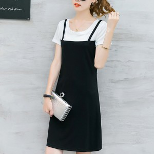 Short Sleeved Contrast Solid Mini Dress - Black and White