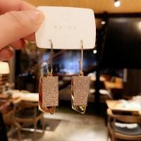 Girls Simple Wild Full Rhinestone Earrings - Golden