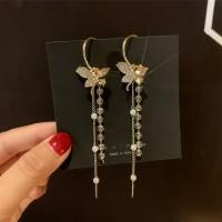 Girls Flower crystal Tassel Earrings - Golden