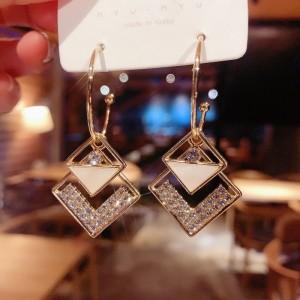 Girls Fashiom Full Rhinestone Double Layer Square Earrings - Golden
