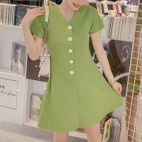 Button Up V Neck Short Sleeves Mini Dress - Green
