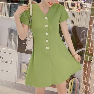 Button Up V Neck Short Sleeves Mini Dress - Green