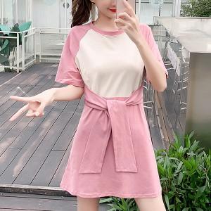 Contrast Waist Belt Solid Short Sleeves Mini Dress - Pink