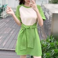 Contrast Waist Belt Solid Short Sleeves Mini Dress - Green