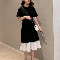 Frilled Contrast Hem Waist String Midi Dress - Black