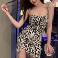 Zebra Prints Spaghetti Strapped Mini Party Wear Dress