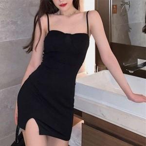 Spaghetti Strapped Body Fitted Mini Dress - Black