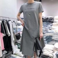 Solid Alphabetic Printed Short Sleeves Midi Dress - Gray