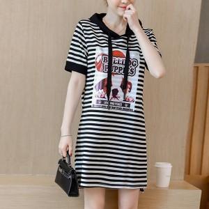 Hoodie Neck Printed Stripes Mini Dress - White Black
