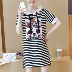 Hoodie Neck Printed Stripes Mini Dress - Black and White