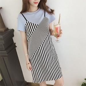 Round Neck Contrast Stripes Printed Short Sleeves Mini Dress - Blue