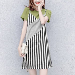 Round Neck Contrast Stripes Printed Short Sleeves Mini Dress - Green
