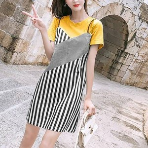 Round Neck Contrast Stripes Printed Short Sleeves Mini Dress - Yellow