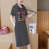 Hoodie Neck Striped Midi Length Casual Dress - Black