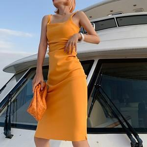 Strap Shoulder Solid Color Body Fitted Mini Dress - Orange