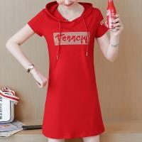 Hoodie Neck Short Sleeves Alphabet Printed Mini Dress - Red