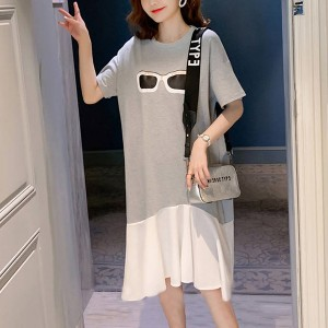 Goggles Printed Round Neck Contrast Solid Dress - Gray