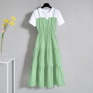 Round Neck Short Sleeved Formal Midi Dress - Green
