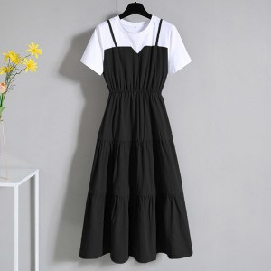 Round Neck Short Sleeved Formal Midi Dress - Black and White