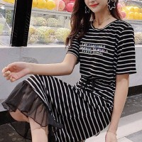 Frilled Hem Stripes Printed Short Sleeves Midi Dress - Black