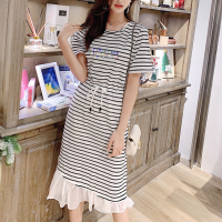 Frilled Hem Stripes Printed Short Sleeves Midi Dress - White