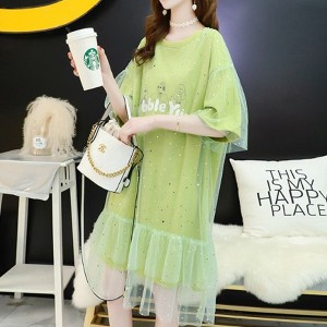 Ruffled Net See Through Sequins Decorative Dress - Green
