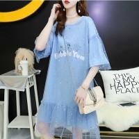 Ruffled Net See Through Sequins Decorative Dress - Blue