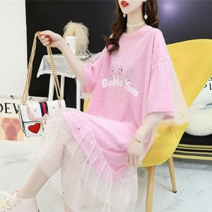 Ruffled Net See Through Sequins Decorative Dress - Pink