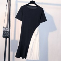 Solid Color Short Sleeve Comfy Wear Women Dress - Black