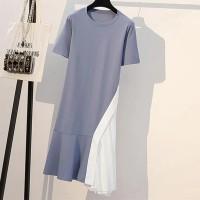 Solid Color Short Sleeve Comfy Wear Women Dress - Blue