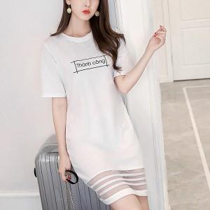 Alphabetic Printed Solid Color Midi Length Women Dress - White