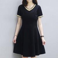 Solid Color V Neck Short Sleeves Comfy Wear Dress - Black