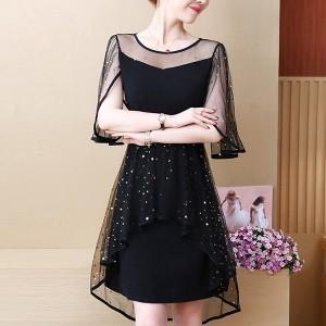 Mesh Star Sequins Decorative Chiffon Party Wear Dress - Black
