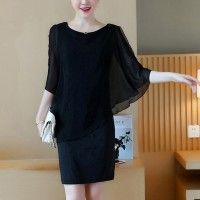 Chiffon Fake Two Pieces Round Neck Dress - Black