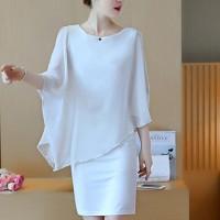 Chiffon Fake Two Pieces Round Neck Dress - White