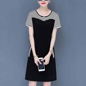 Stripes Design Casual Wear Midi Dress For Women - White