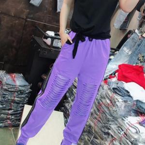 Trendy Hollow Style Narrow Toe Casual Wear Bottom - Purple