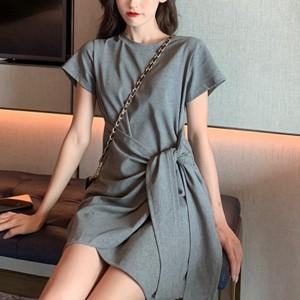 Fancy Knot Closure Short Sleeves Dress - Gray