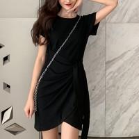 Fancy Knot Closure Short Sleeves Dress - Black