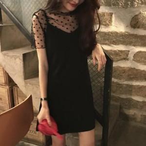 Mesh Polka Dots V Neck Two Pieces Dress - Black