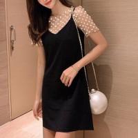 Mesh Polka Dots V Neck Two Pieces Dress - White Black