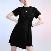 Drawstring Round Neck Solid Color Mini Dress - Black