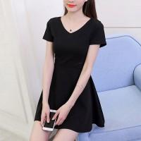 Plain V Neck Casual Wear Women Mini Dress - Black