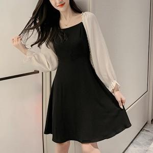 Smock Style Square Neck Long Sleeve Dress For Women - Black