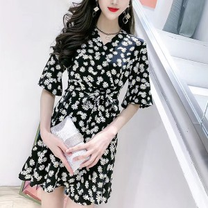 Floral Fashion Lace Short Sleeves Two Pieces Suit - Black