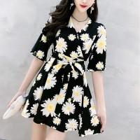 Daisy Flower Design Lace Two Pieces Suit - Black
