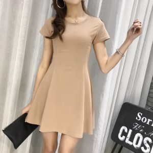 Solid Color Short Sleeves Comfy Wear Dress For Women - Khaki
