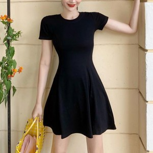 Elegant Solid Color Short Sleeve Casual Wear Mini Dress - Black