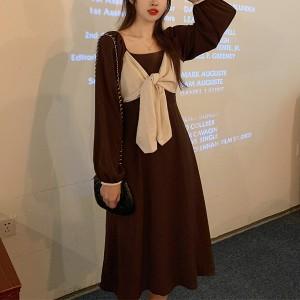 Fancy Bow Style Formal Wear Dress For Women - Brown